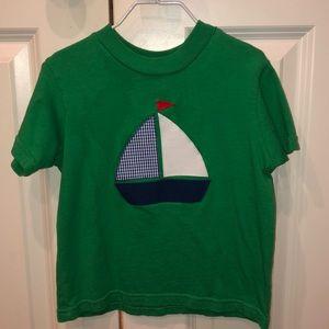 Green sailboat appliqué t- shirt